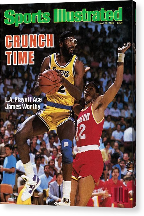 Playoffs Acrylic Print featuring the photograph Los Angeles Lakers James Worthy, 1986 Nba Western Sports Illustrated Cover by Sports Illustrated