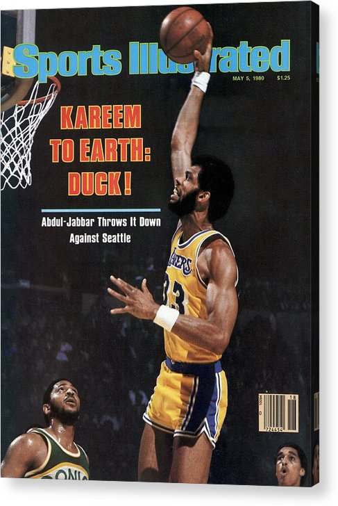 Magazine Cover Acrylic Print featuring the photograph Los Angeles Lakers Kareem Abdul-jabbar, 1980 Nba Western Sports Illustrated Cover by Sports Illustrated