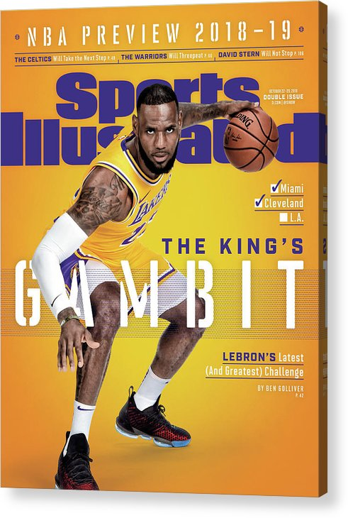 Magazine Cover Acrylic Print featuring the photograph Los Angeles Lakers LeBron James, 2018-19 Nba Basketball Sports Illustrated Cover by Sports Illustrated
