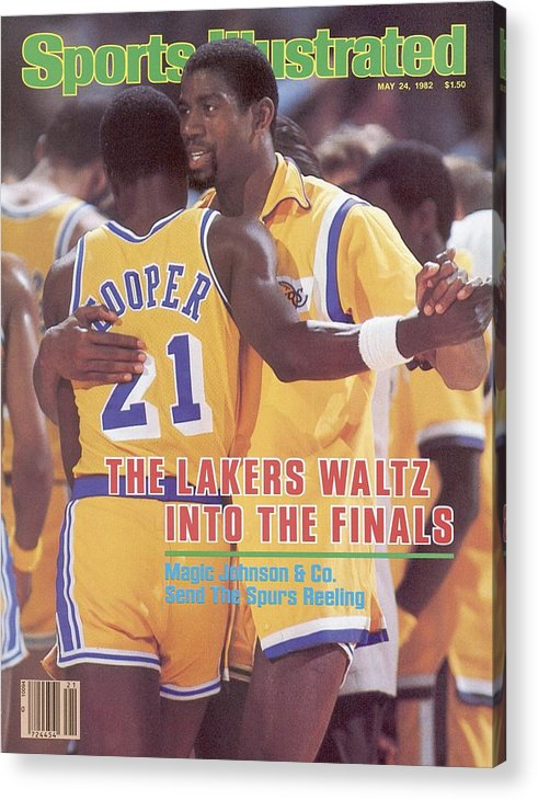 Magazine Cover Acrylic Print featuring the photograph Los Angeles Lakers Magic Johnson, 1982 Nba Western Sports Illustrated Cover by Sports Illustrated