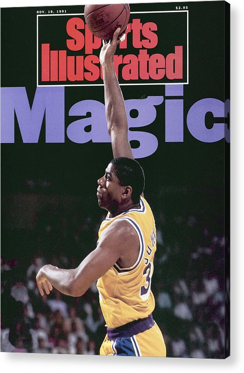 Playoffs Acrylic Print featuring the photograph Los Angeles Lakers Magic Johnson, 1990 Nba Western Sports Illustrated Cover by Sports Illustrated