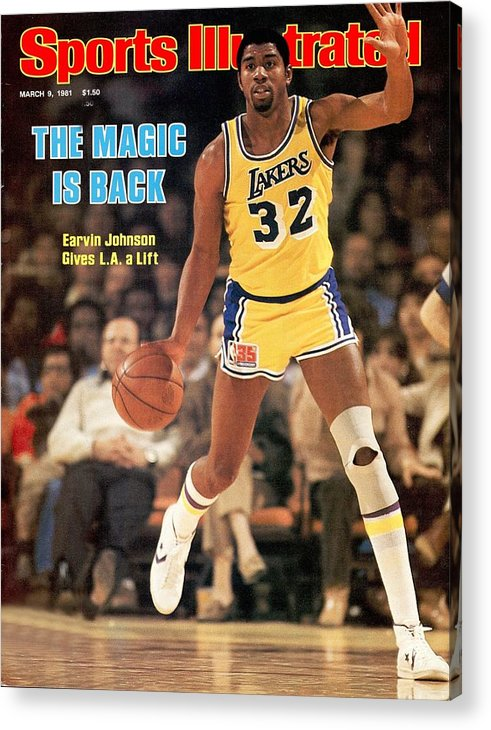 1980-1989 Acrylic Print featuring the photograph Los Angeles Lakers Magic Johnson... Sports Illustrated Cover by Sports Illustrated