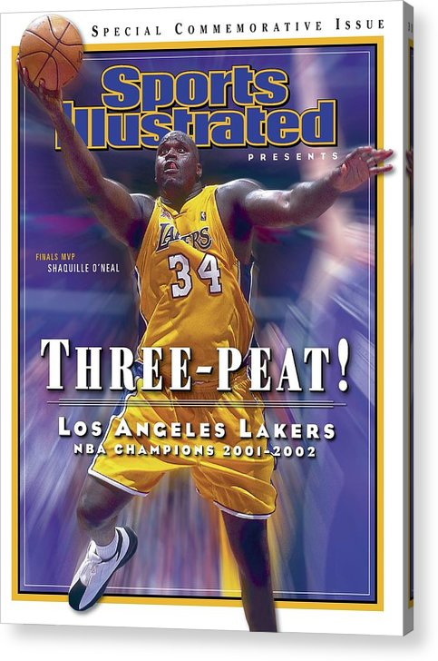 Magazine Cover Acrylic Print featuring the photograph Los Angeles Lakers Shaquille Oneal, 2001 - 2002 Nba Sports Illustrated Cover by Sports Illustrated