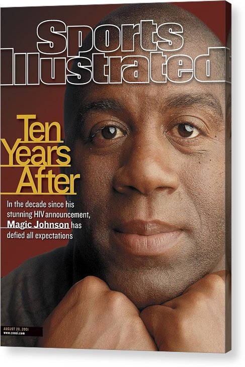 Magazine Cover Acrylic Print featuring the photograph Magic Johnson, Basketball Sports Illustrated Cover by Sports Illustrated