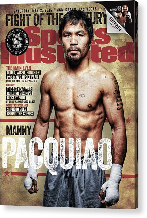 Event Acrylic Print featuring the photograph Manny Pacquiao, 2015 Wbawbcwbo Welterweight Title Preview Sports Illustrated Cover by Sports Illustrated