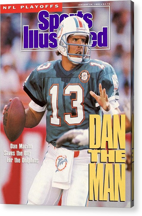 Playoffs Acrylic Print featuring the photograph Miami Dolphins Qb Dan Marino, 1991 Afc Wild Card Playoffs Sports Illustrated Cover by Sports Illustrated