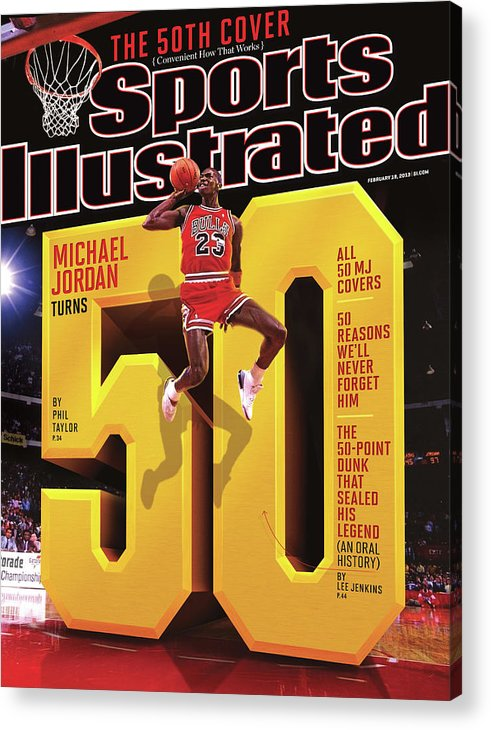 Magazine Cover Acrylic Print featuring the photograph Michael Jordan Turns 50 Sports Illustrated Cover by Sports Illustrated