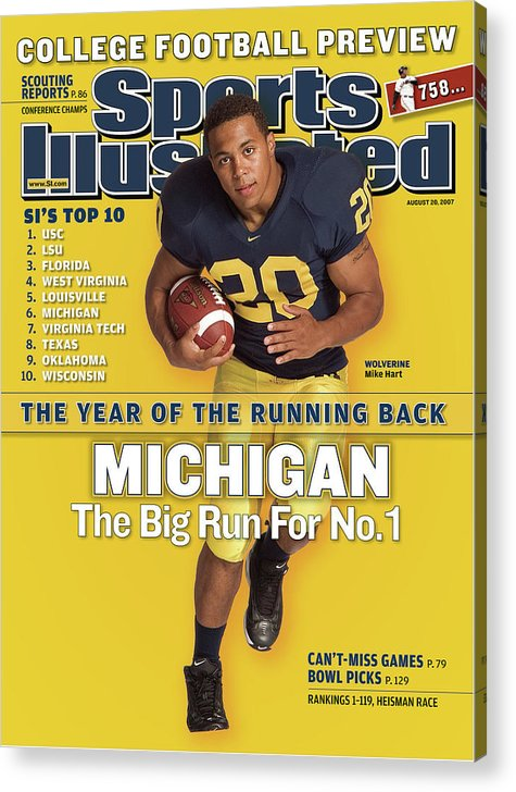 Michigan Acrylic Print featuring the photograph Michigan Mike Hart, 2007 College Football Preview Sports Illustrated Cover by Sports Illustrated