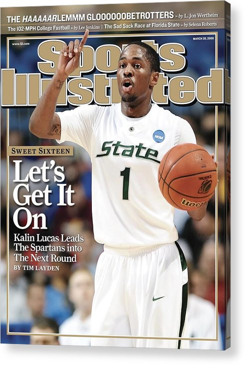 Hubert H. Humphrey Metrodome Acrylic Print featuring the photograph Michigan State University Kalin Lucas, 2009 Ncaa Midwest Sports Illustrated Cover by Sports Illustrated