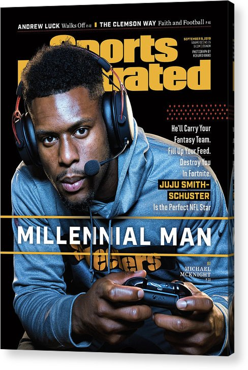 Magazine Cover Acrylic Print featuring the photograph Millennial Man Pittsburgh Steelers Juju Smith-schuster Sports Illustrated Cover by Sports Illustrated