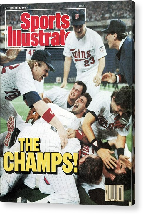 Hubert H. Humphrey Metrodome Acrylic Print featuring the photograph Minnesota Twins Dan Gladden, 1987 World Series Sports Illustrated Cover by Sports Illustrated