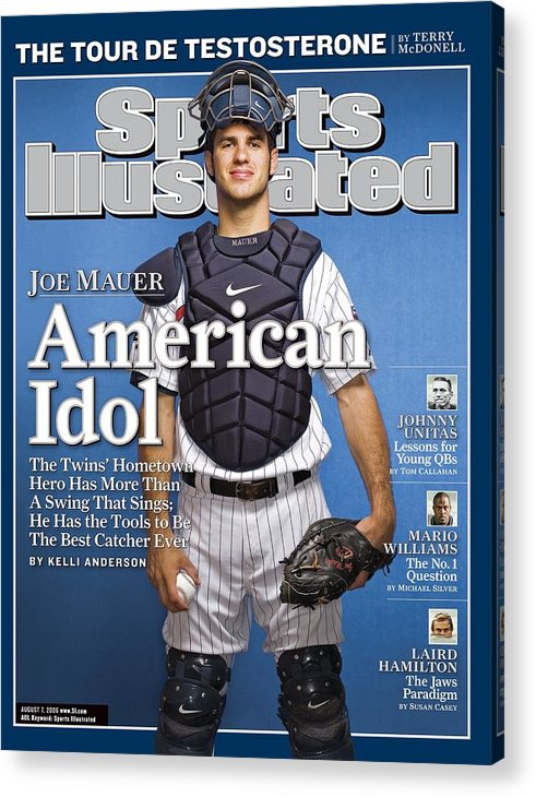 Hubert H. Humphrey Metrodome Acrylic Print featuring the photograph Minnesota Twins Joe Mauer Sports Illustrated Cover by Sports Illustrated