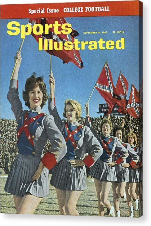 Magazine Cover Acrylic Print featuring the photograph Mississippi Cheerleaders, 1962 Cotton Bowl Sports Illustrated Cover by Sports Illustrated