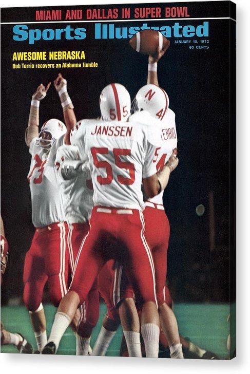 Magazine Cover Acrylic Print featuring the photograph Nebraska Bob Terrio, 1972 Orange Bowl Sports Illustrated Cover by Sports Illustrated