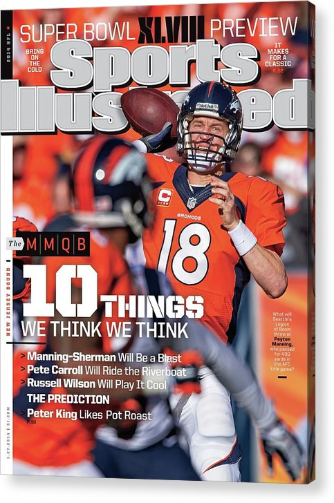 Magazine Cover Acrylic Print featuring the photograph New Jersey Bound Super Bowl Xlviii Preview Issue Sports Illustrated Cover by Sports Illustrated