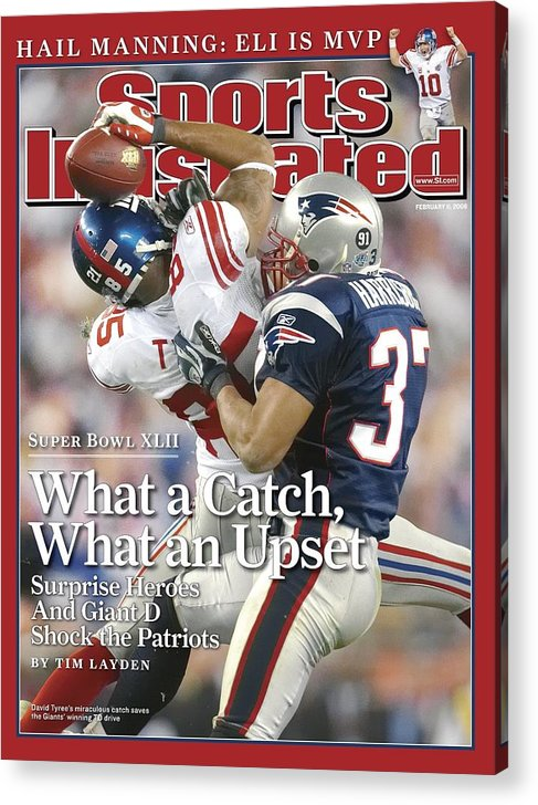 Magazine Cover Acrylic Print featuring the photograph New York Giants David Tyree, Super Bowl Xlii Sports Illustrated Cover by Sports Illustrated