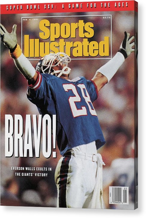 Magazine Cover Acrylic Print featuring the photograph New York Giants Everson Walls, Super Bowl Xxv Sports Illustrated Cover by Sports Illustrated