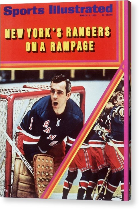 Magazine Cover Acrylic Print featuring the photograph New York Rangers Goalie Ed Giacomin And Jean Ratelle Sports Illustrated Cover by Sports Illustrated