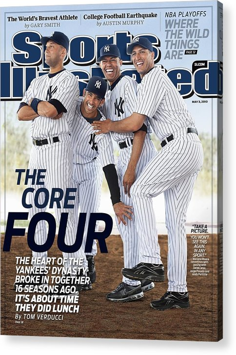 American League Baseball Acrylic Print featuring the photograph New York Yankees Derek Jeter, Jorge Posada, Mariano Rivera Sports Illustrated Cover by Sports Illustrated