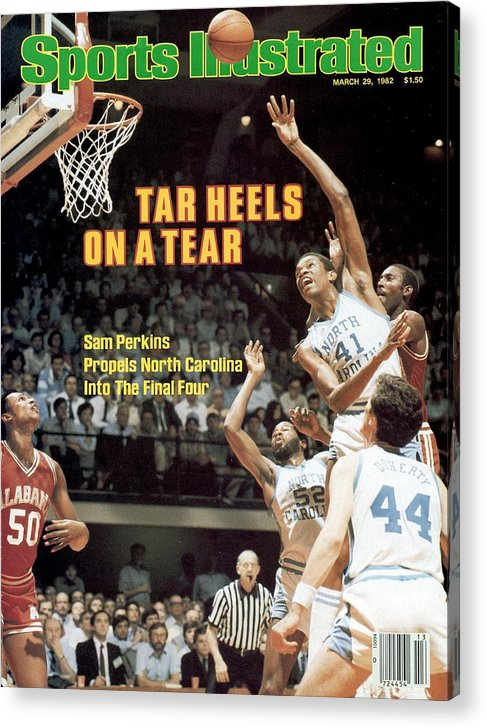 Playoffs Acrylic Print featuring the photograph North Carolina Sam Perkins, 1982 Ncaa East Regional Playoffs Sports Illustrated Cover by Sports Illustrated