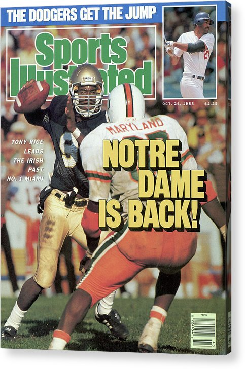 1980-1989 Acrylic Print featuring the photograph Notre Dame Is Back Tony Rice Leads The Irish Past No. 1 Sports Illustrated Cover by Sports Illustrated