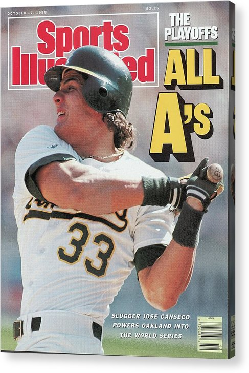 Playoffs Acrylic Print featuring the photograph Oakland Athletics Jose Canseco, 1988 Al Championship Series Sports Illustrated Cover by Sports Illustrated