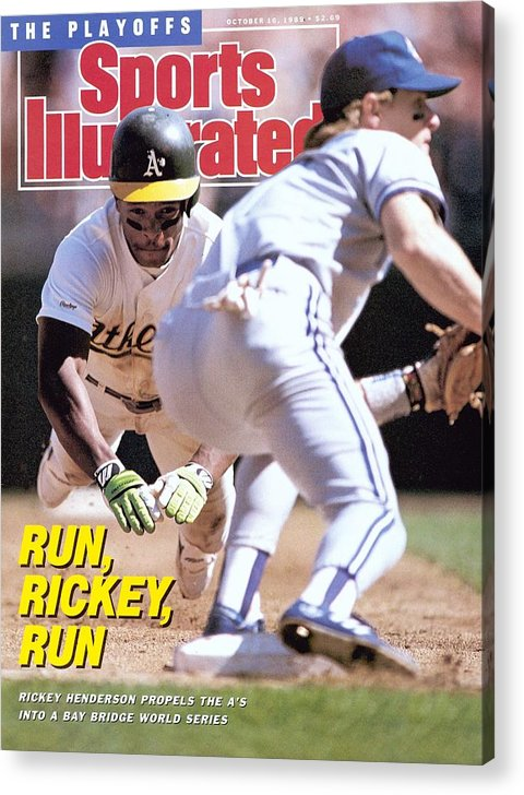 Playoffs Acrylic Print featuring the photograph Oakland Athletics Rickey Henderson, 1989 Al Championship Sports Illustrated Cover by Sports Illustrated