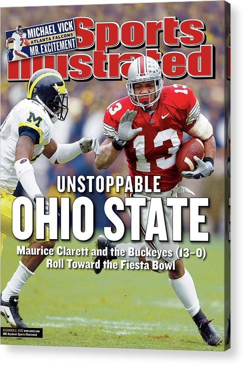 Sports Illustrated Acrylic Print featuring the photograph Ohio State University Maurice Clarett Sports Illustrated Cover by Sports Illustrated