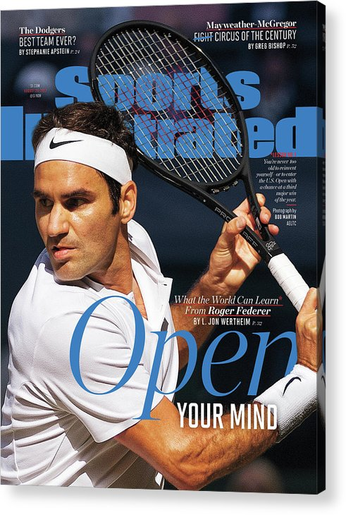 Tennis Acrylic Print featuring the photograph Open Your Mind What The World Can Learn From Roger Federer Sports Illustrated Cover by Sports Illustrated