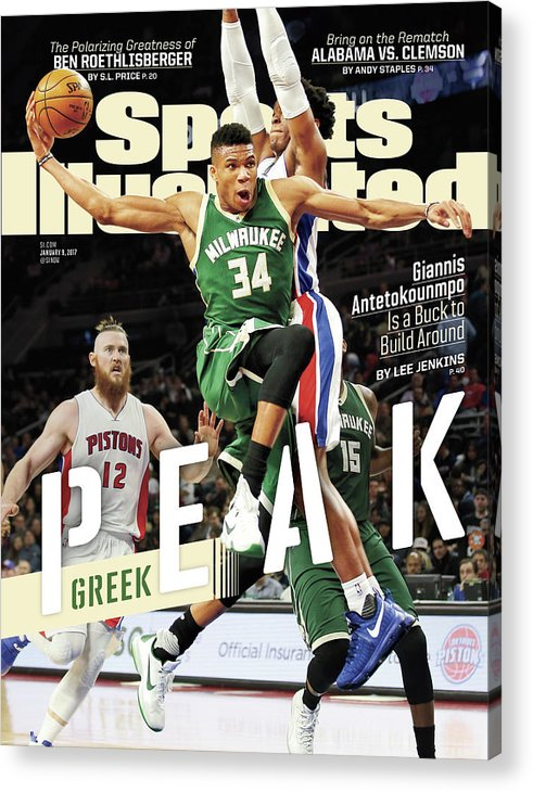 Magazine Cover Acrylic Print featuring the photograph Peak Greek Giannis Antetokounmpo Is A Buck To Build Around Sports Illustrated Cover by Sports Illustrated
