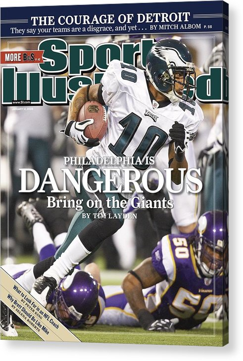 Hubert H. Humphrey Metrodome Acrylic Print featuring the photograph Philadelphia Eagles Desean Jackson, 2009 Nfc Wild Card Sports Illustrated Cover by Sports Illustrated