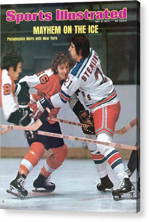 Magazine Cover Acrylic Print featuring the photograph Philadelphia Flyers Bobby Clarke, 1974 Nhl Semifinals Sports Illustrated Cover by Sports Illustrated