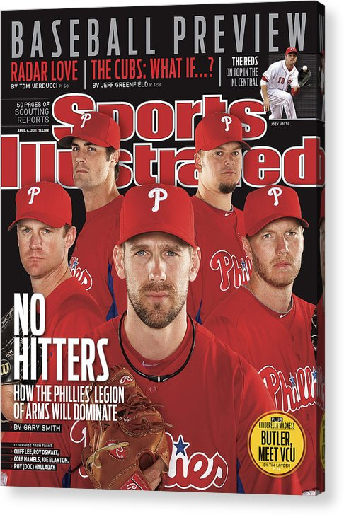 Clearwater Acrylic Print featuring the photograph Philladelphia Phillies Starting Five, 2011 Mlb Baseball Sports Illustrated Cover by Sports Illustrated