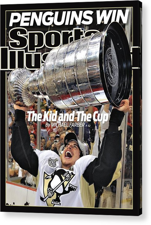 Magazine Cover Acrylic Print featuring the photograph Pittsburgh Penguins Sidney Crosby, 2009 Nhl Stanley Cup Sports Illustrated Cover by Sports Illustrated