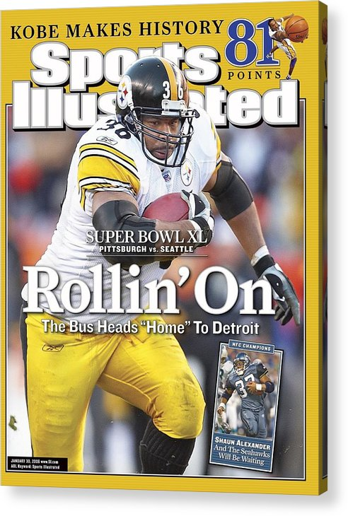 Magazine Cover Acrylic Print featuring the photograph Pittsburgh Steelers Jerome Bettis, 2006 Afc Championship Sports Illustrated Cover by Sports Illustrated