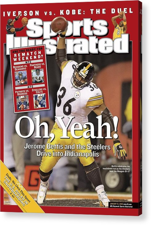 Magazine Cover Acrylic Print featuring the photograph Pittsburgh Steelers Jerome Bettis, 2006 Afc Wild Card Sports Illustrated Cover by Sports Illustrated