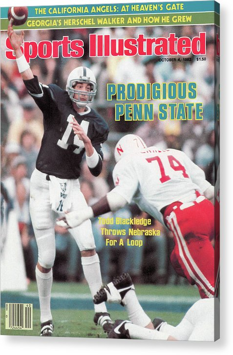 Magazine Cover Acrylic Print featuring the photograph Prodigious Penn State Todd Blackledge Throws Nebraska For A Sports Illustrated Cover by Sports Illustrated