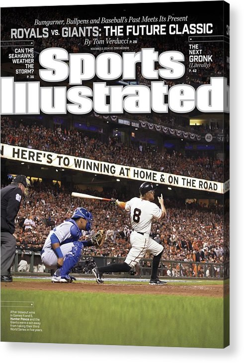 Magazine Cover Acrylic Print featuring the photograph Royals Vs. Giants The Future Classic Sports Illustrated Cover by Sports Illustrated
