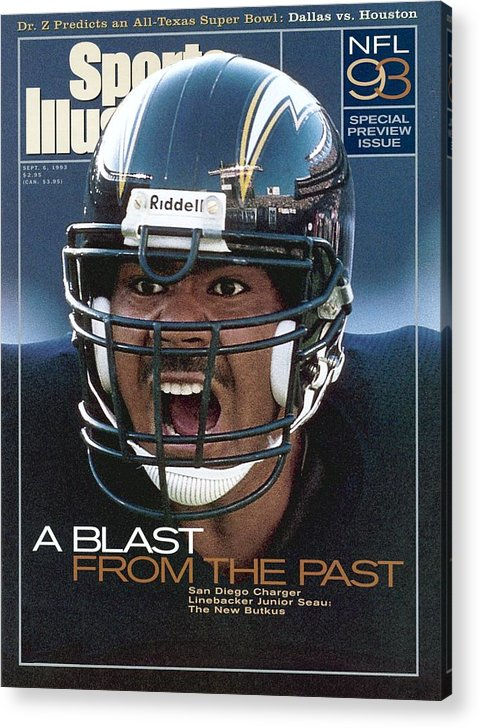 Magazine Cover Acrylic Print featuring the photograph San Diego Chargers Junior Seau, 1993 Nfl Football Preview Sports Illustrated Cover by Sports Illustrated