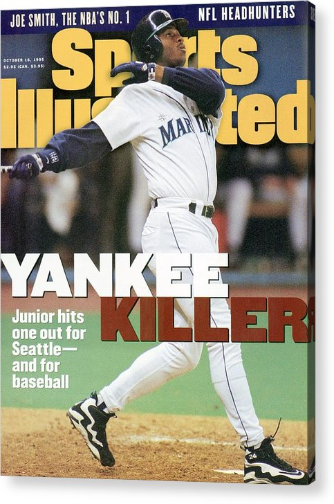 Magazine Cover Acrylic Print featuring the photograph Seattle Mariners Ken Griffey Jr, 1995 Al Division Series Sports Illustrated Cover by Sports Illustrated