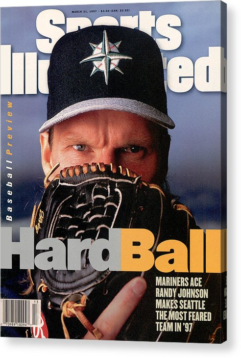 Magazine Cover Acrylic Print featuring the photograph Seattle Mariners Randy Johnson, 1997 Mlb Baseball Preview Sports Illustrated Cover by Sports Illustrated