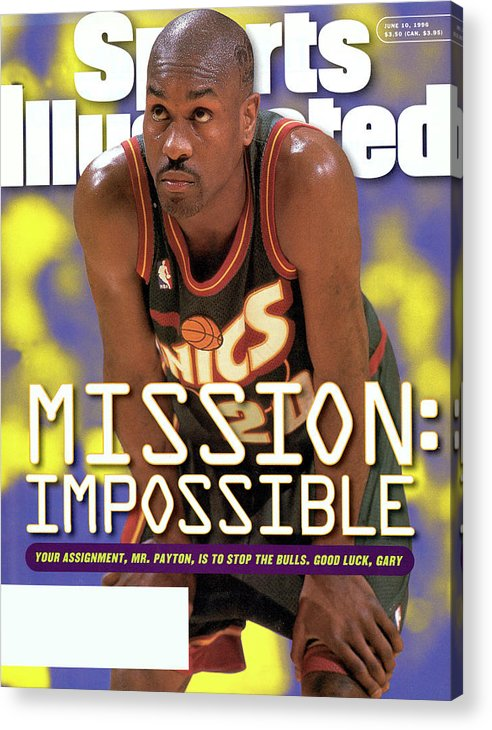 Playoffs Acrylic Print featuring the photograph Seattle Supersonics Gary Payton, 1996 Nba Western Sports Illustrated Cover by Sports Illustrated