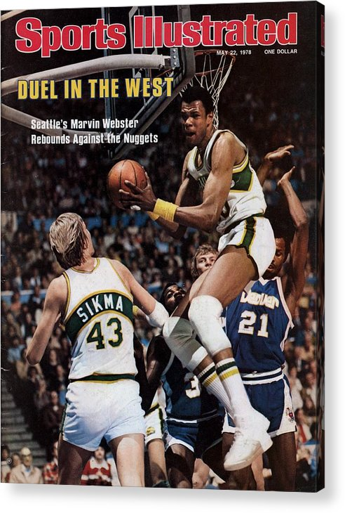 Playoffs Acrylic Print featuring the photograph Seattle Supersonics Marvin Webster, 1978 Nba Western Sports Illustrated Cover by Sports Illustrated