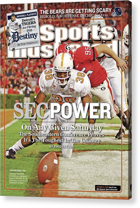 Magazine Cover Acrylic Print featuring the photograph Sec Power On Any Given Saturday The Southeastern Conference Sports Illustrated Cover by Sports Illustrated
