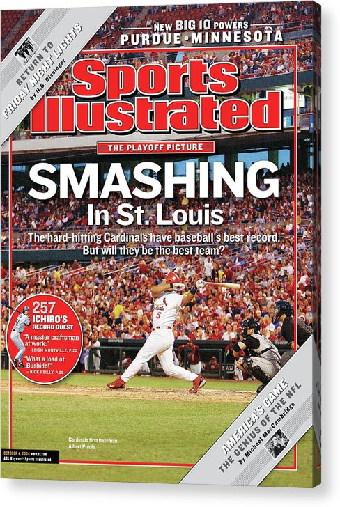 St. Louis Cardinals Acrylic Print featuring the photograph Smashing In St. Louis Sports Illustrated Cover by Sports Illustrated