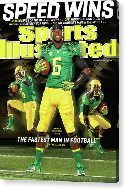 Magazine Cover Acrylic Print featuring the photograph Speed Wins Oregons Deanthony Thomas, The Fastest Man In Sports Illustrated Cover by Sports Illustrated