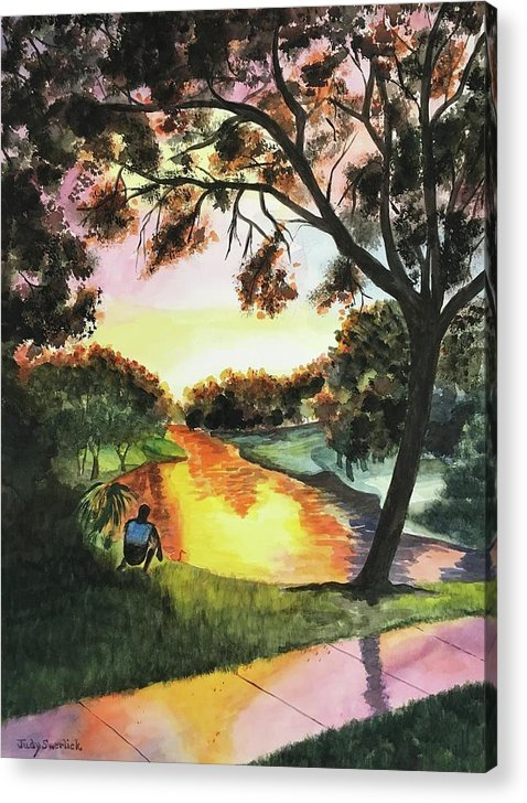 Sunset Acrylic Print featuring the painting Sunset After the Rain by Judy Swerlick