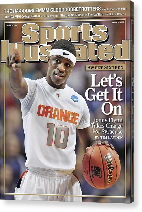 Playoffs Acrylic Print featuring the photograph Syracuse University Jonny Flynn, 2009 Ncaa South Regional Sports Illustrated Cover by Sports Illustrated