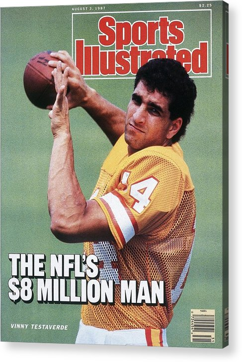 Magazine Cover Acrylic Print featuring the photograph Tampa Bay Buccaneers Qb Vinny Testaverde Sports Illustrated Cover by Sports Illustrated