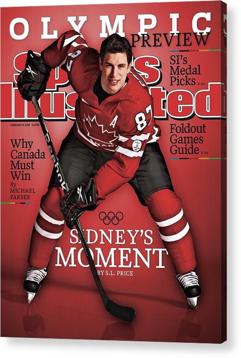 The Olympic Games Acrylic Print featuring the photograph Team Canada Sidney Crosby, 2010 Vancouver Olympic Games Sports Illustrated Cover by Sports Illustrated
